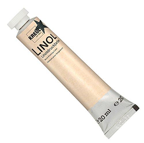 Kreul 15715 - Linoldruckfarbe auf Wasserbasis, für den Handdruck von Holz-, Kork- und Linolschnitten auf Japan-, Bütten- und anderen saugfähigen Papieren, 20 ml Tube, schwarz