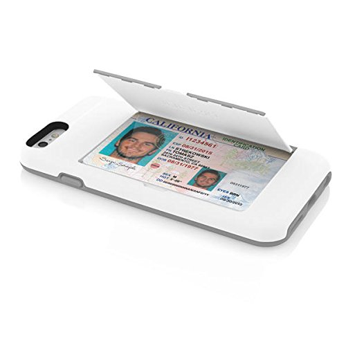 Incipio IPH-1185-WHTGRY iPhone 6S Case, Stowaway [Kickstand][Credit Card] Wallet Cover fits Both Apple iPhone 6, iPhone 6S - White/Gray
