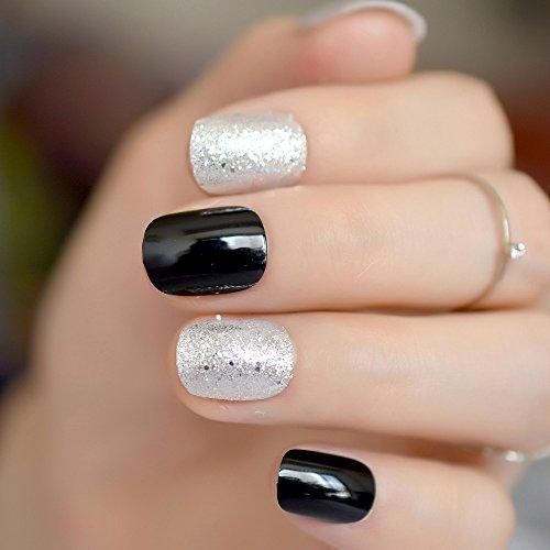 EchiQ Faux ongles à paillettes argentées courtes, classiques, noirs à presser, couverture complète, accessoires de nail art