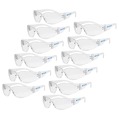 JORESTECH Eyewear Protective Safety Glasses, Polycarbonate Impact Resistant Lens Pack of 12 (Clear) from Technopack Corporation