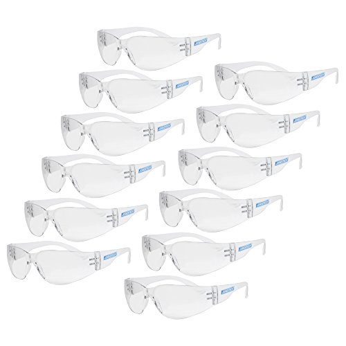 JORESTECH Eyewear Protective Safety Glasses, Polycarbonate Impact Resistant Lens Pack of 12 (Clear)