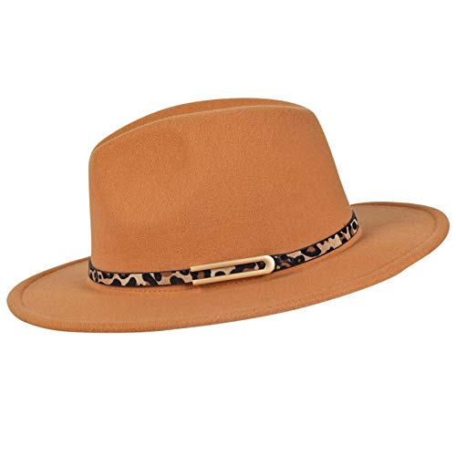 besbomig Sombrero de Jazz Fedora Trilby Cap de Fieltro de Moda para Mujer Hombre Gorra de ala Ancha para Viaje Fiesta Compras,Marrón Claro