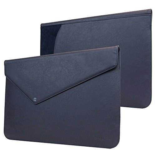 Snugg Macbook Pro Touch 15' (2016, 2017) Sleeve, Riverside Blue Leather Sleeve Case Protective Cover for Macbook Pro Touch 15' (2016, 2017) 15' Touchbar