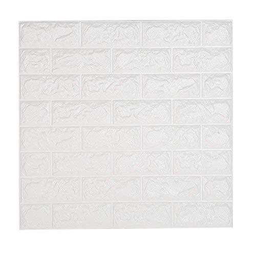 Leisu Papel Pintado Ladrillo Blanco 3D Adhesivo de Pegatinas Decorativas Pared Removible Pelar Espuma PE Para DIY Moderno Decoración Dormitorio Cocina Sala de Estar Oficina Fondo TV 60*60CM(20 pack)