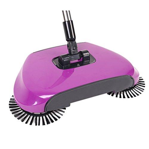 ANCOZ Kehrmaschine für Haushalt, Handgriff, automatisch, ohne Strom, Besen, tragbare Reinigungsmaschine, 3 in 1 Kehrschaufel und Mülleimer violett