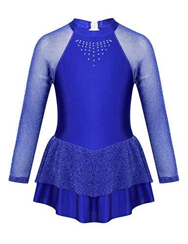 TiaoBug Mädchen Eiskunstlauf Kleid Ballettkleid Ballettanzug Langarm Body Ballett Trikot Turnanzug Eislaufen Bekleidung Wettbewerb Kostüm gr. 104-152 Blau Mesh Arm 128/8 Jahre