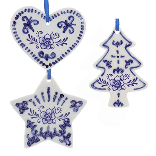 Kurt Adler 3' Porcelain Delft Blue Heart Tree Star Ornaments (3 Pack Assorted)