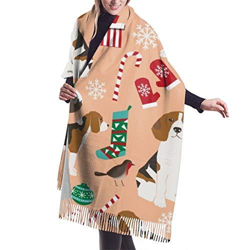 Damen Großer weicher Kaschmir-Schal, elegant, bequem, Winterschal, warm, Beagle, Weihnachten, Urlaub, Winterschmuck, Pfirsich