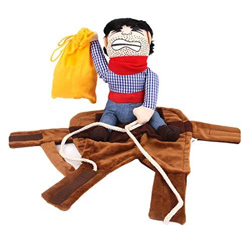 Fenteer Disfraz de Perro Mascota Cowboy Rider Knight Style Ropa con Mueca para Fiesta de Carnaval de Halloween - Tal como se Describe, L