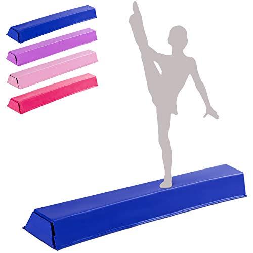 GOPLUS Balance Beam Gymnastik, Schwebebalken für Zuhause Turnen, Gymnastikbalken Klappbar, Turnen Balken für Kinder und Gymnastik Anfänger, PU-Oberfläche, 117x20x10 cm (Blau)