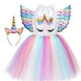 Sincere Party Tutu per bambina in tulle con unicorno Abito per compleanno con unicorno rosa soffice con fascia e ali 6-7 anni
