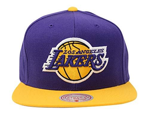 Mitchell & Ness Wool 2 Tone Gorra de béisbol, logotipo de LA Lakers, color morado y amarillo
