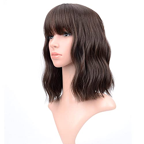 VCKOVCKO Short Bob Wigs Natural Black Wavy Wig With Air Bangs Women