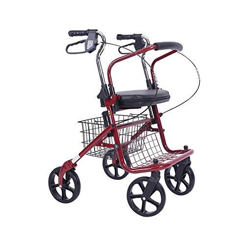 Rollators 4 Wiel Vouwen Lichtgewicht met Pedaal Plaat en Onderstoel Mand Hulp Rolling Walker Walking Aids