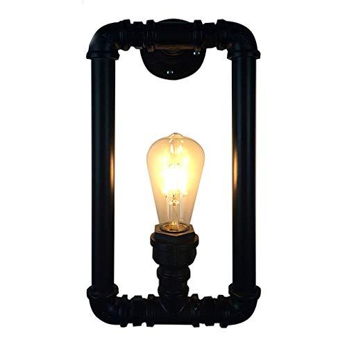 Applique Tuyau En Fer Forgé - Lampe De Décoration En Forme De Vent Industriel (rétro Café Allée Bar) (sans Source De Lumière) (Color : Noir)