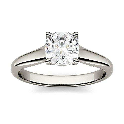 Charles & Colvard Forever One anello di fidanzamento - oro bianco con 14K - Moissanite da 6 mm con taglio a cuscino, 1.1 kt, taglia 14