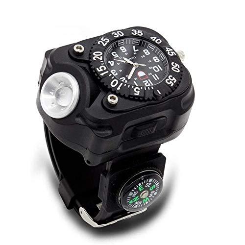 Yiyu 3 en 1 Super Brillante LED del Reloj de la antorcha Impermeable Recargable Linterna con Las Luces del Reloj del compás táctico Linternas Deportes al Aire Libre de los Hombres x (Color : Black)