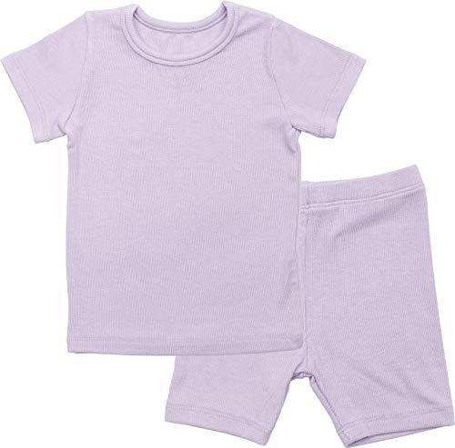 AVAUMA Newborn Baby Little Boys Snug-Fit Pajamas Summer Short Sets Pjs Kids Clothes (L/Purple)