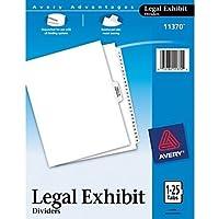 Two ( 2)セット–AveryプレミアムCollated法的Exhibit Dividerセット、Averyスタイル、1–25と表の内容、サイドタブ、8.5X 11インチ( 11370)