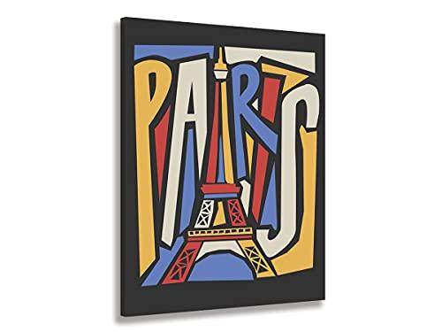 Hexoa Cuadro Póster de la Torre Eiffel Vintage - Fabricado en Francia - Cuadro de cristal acrílico - 60 x 100 cm