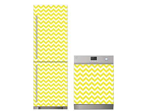 Oedim Pack Vinilo para Frigorífico + Vinilo para Lavavajillas Zigzag Amarillo | 60x185cm + 65x75cm | Adhesivo Resistente y Económico | Pegatina Adhesiva Decorativa de Diseño Elegante