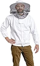 Beekeeping Jacket with Round Veil for Protection from Honey Bee, Hornet, and Wasp Stings 100% Thick Lightweight Cotton Zip Up Jacket and Removable Veil with Unisex Sizing (Large)