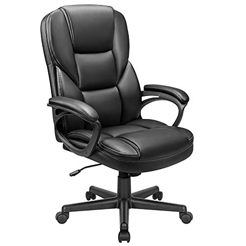 Devoko Bürostuhl Chefsessel Höhenverstellbarer Computerstuhl Hoher Rücken Schreibtischstuhl Ergonomischer Chefstuhl Kunstleder Drehstuhl (Schwarz)