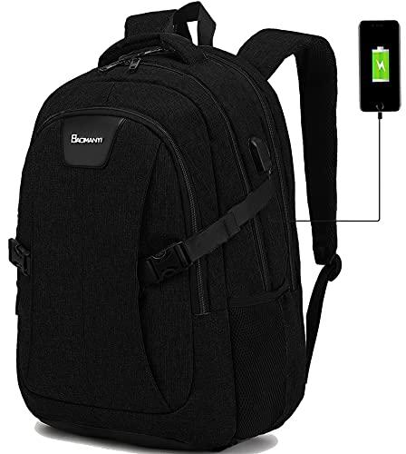 KeKour Mochila para ordenador portátil de 17 pulgadas, impermeable, gran mochila escolar, trabajo, viajes, jóvenes, mujeres, con puerto de carga USB Negro L