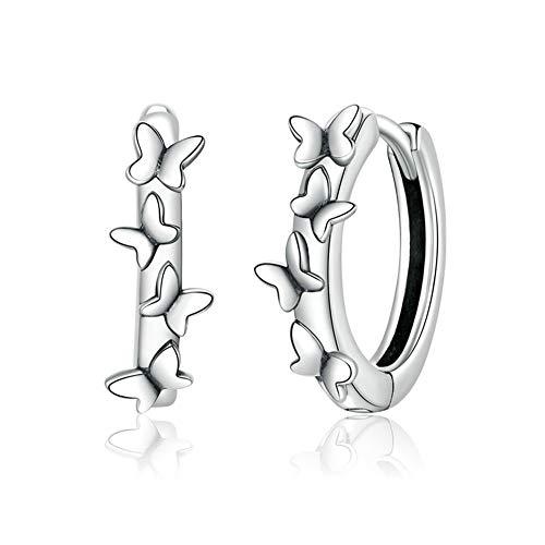 GaLon Pendientes Pandora Elegante de la Vendimia S925 Plata de Ley hipoalergénica de la Mariposa de la Mujer