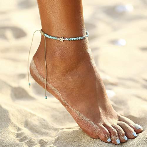 Yean Boho Türkis Fußkettchen Silber Stern Knöchel Armband Strand Fußschmuck für Frauen und Mädchen