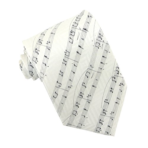 Diagonal Sheet Music Black on White 100% Silk Classic Tie