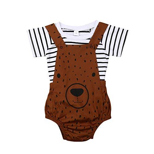 WangsCanis Conjunto de ropa de bebé unisex de 2 piezas, camiseta de manga larga a rayas + pelele con estampado de oso, 0 – 3 años Orso Marrone 2-3 Años