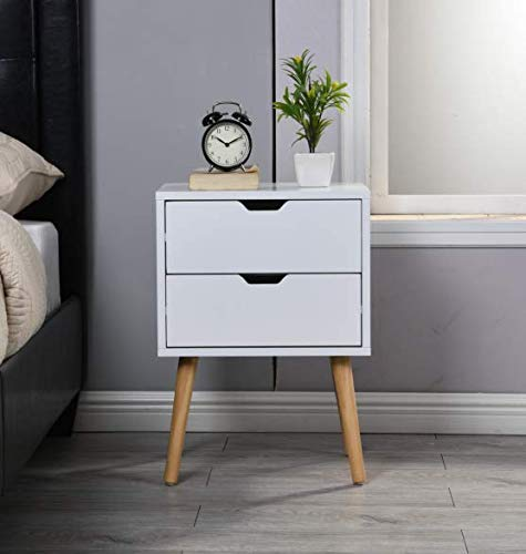 Sweetgo End Side Table Nightstand with Storage Drawer -Fashion Modern Assemble Storage Cabinet Bedroom Bedside -Solid Wood Legs Living Room Bedroom Furniture-Double Drawer Nightstand (1, White)