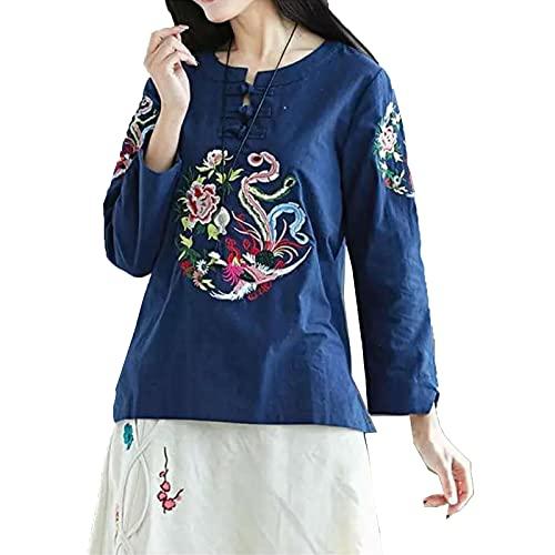 LIWEIL Top Casual de Las Mujeres Retro de la Blusa del Bordado del algodón y del Lino de la Camisa del Estilo...