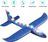 """DEVICE OF URBAN INFOTECH Airplane Toy with Lights 17.5"""" Large Throwing Foam Plane"""