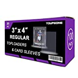 Toupeone 3' x 4' Top Loaders and Penny Sleeves Bundle, Including 100 35pt Toploader and 100 Clear Soft Card Sleeves Hard Plastic Card Protectors for Trading and Sports Cards