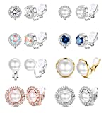 SAILIMUE 8 Pairs Clip Earrings Sets for Women Fashion Cubic Zirconia CZ Crystal Freshwater Pearl Earrings Hypoallergenic Non Pierced Clip on Earrings Jewelry