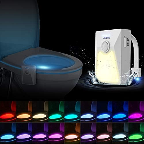 OMERIL Toilet Light 18 Colors USB Rechargeable Toilet Night Light Motion Activated Detection product image