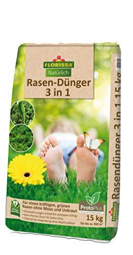 Florissa Natürlich Abono orgánico para césped 3 en 1 con ProtoPlus y hierro para un césped denso sin musgo.