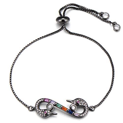 Hand Bangle Bracelets Jewellery For Womens Elegant Double Swan Charm Bracelet For Women Lovers Cubic Zirconia Infinity B
