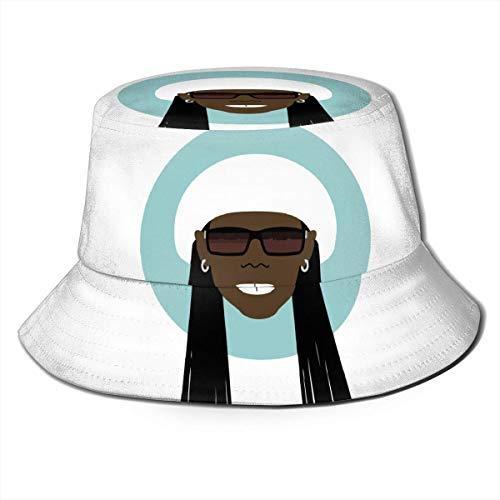 LianLiYa - Sombrero de pescador de dibujos animados portátil Chic-Nile Rodgers unisex al aire libre estampado casual de pescador sombrero de viaje sombrero de playa negro