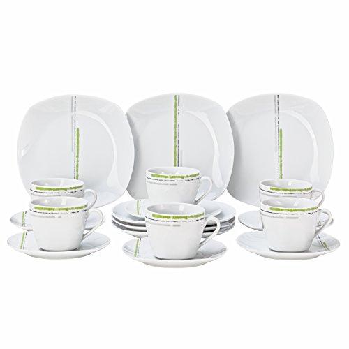 Wellco Design Laredo Service à café 18 pièces, Porcelaine, Blanc avec Rayures Vert décor, 35 x 30 x 9,5 cm