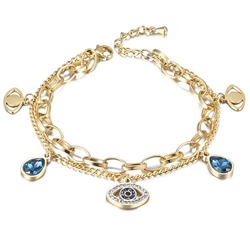 CIUNOFOR Evil Eye Charm Bracelet Oro Rosa Chapado en Oro Acero Inoxidable Bead Link Estilo Italiano para Mujeres Niñas