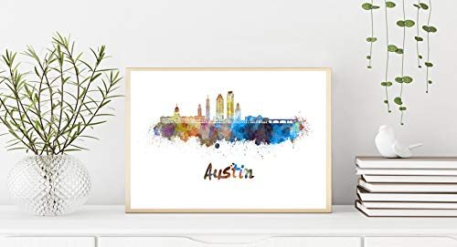 Austin V2 Skyline en Acuarela Papel Fotográfico 30x40 cms