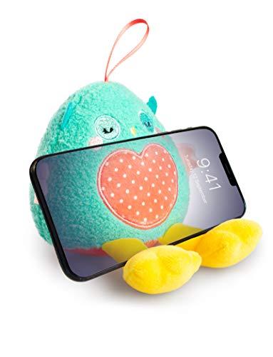 Planet Buddies Soporte para Teléfono de Felpa y Limpiador de Pantalla, Universal para Teléfonos Móviles para Niños, Soporte para Teléfono de Peluche para iPhone, Samsung y más, Búho, Verde/Rosa,