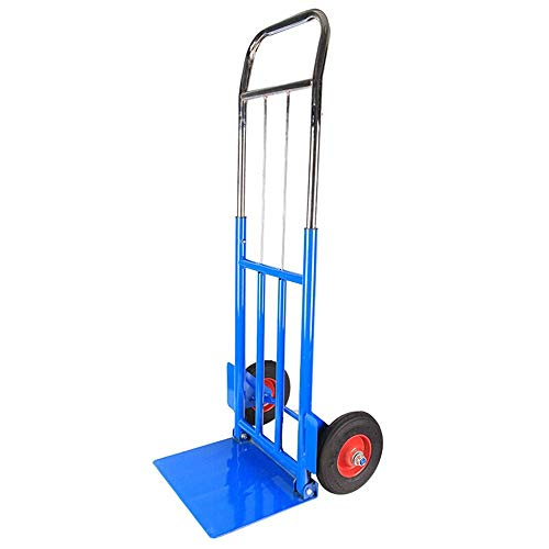 Platform Trucks Multipurpose Foldable Trolley Handling Helper Luggage Cart Hand Truck 100kg Load Capacity Trolley (Color : Blue Size : 37x29x116cm)