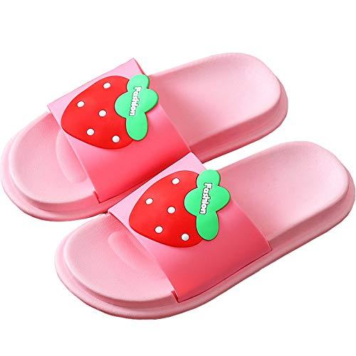 Kinder Sommer Hausschuhe Mädchen Jungen Hausschuhe Pantoletten Strand Sandalen Badeschlappen Weiche&rutschfest,Pink-C,27-28EU/Herstellergröße 28-29