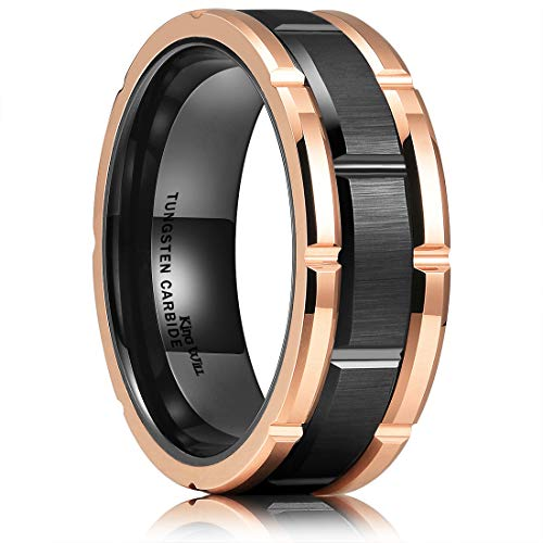King Will Mens 8mm Black and Rose Gold Tungsten Carbide Wedding Ring Brick Pattern Brushed Finish 8