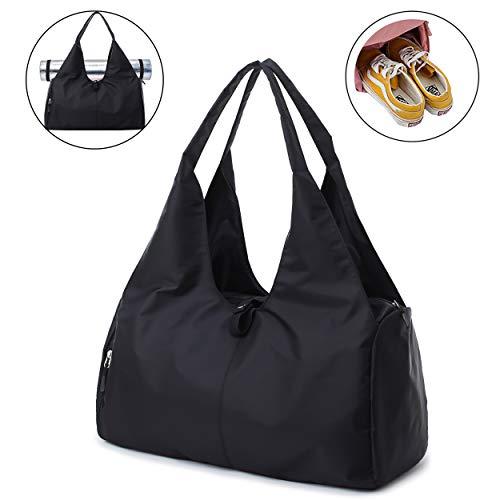 Joqixon Damen Sporttasche mit Schuhfach Nylon Wasserdicht Reisetasche für Herren und Mädchen, 35L Fitnesstasche Gym Tasche Schwimmtasche für Yoga Tanz Schwimmen, Groß Schwarz