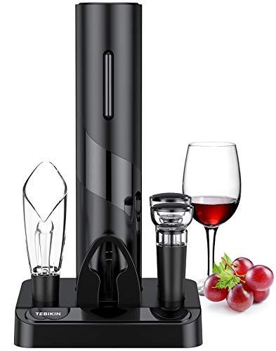 Electric Wine Opener Set, TEBIKIN Automatic Wine Bottle Openers, Cordless Battery Powered Corkscrew...